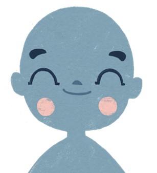 Piirretty hymyilevä lapsihahmo