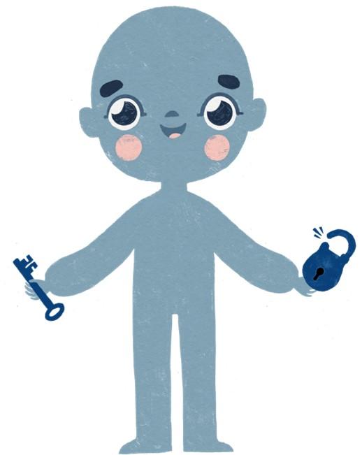 Piirretty lapsihahmo, jolla on käsissään avain ja lukko